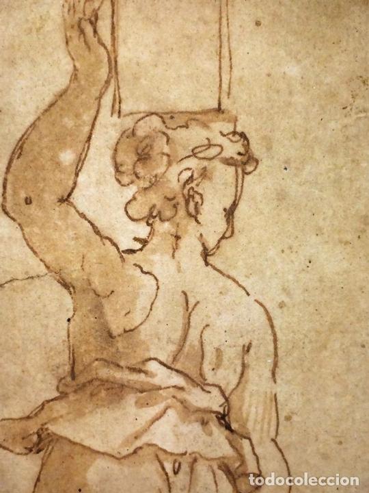 Arte: 4 CARIÁTIDES. DIBUJO-ACUARELA. ATRIBUIDO A PIERINO DEL VAGA. ITALIA. PRIMERA MITAD S. XVI - Foto 7 - 131916022