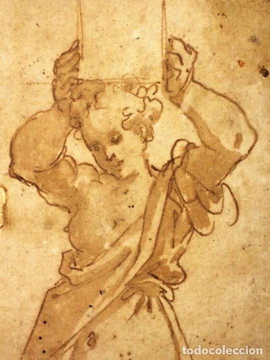 Arte: 4 CARIÁTIDES. DIBUJO-ACUARELA. ATRIBUIDO A PIERINO DEL VAGA. ITALIA. PRIMERA MITAD S. XVI - Foto 8 - 131916022