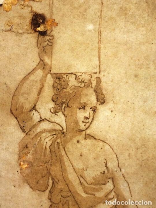 Arte: 4 CARIÁTIDES. DIBUJO-ACUARELA. ATRIBUIDO A PIERINO DEL VAGA. ITALIA. PRIMERA MITAD S. XVI - Foto 9 - 131916022