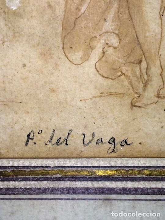 Arte: 4 CARIÁTIDES. DIBUJO-ACUARELA. ATRIBUIDO A PIERINO DEL VAGA. ITALIA. PRIMERA MITAD S. XVI - Foto 10 - 131916022