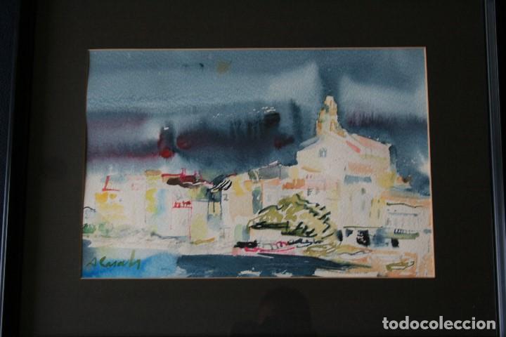 AMADEU CASALS PONS, ( 1930 - 2010 ) EXTRAORDINARIA ACUARELA DE CADAQUES. FIRMADA (Arte - Acuarelas - Contemporáneas siglo XX)