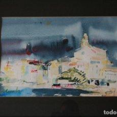 Arte: AMADEU CASALS PONS, ( 1930 - 2010 ) EXTRAORDINARIA ACUARELA DE CADAQUES. FIRMADA. Lote 131938302