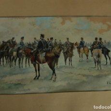Arte: ANTIGUA ACUARELA. SOLDADOS A CABALLO. FIRMADA E. GALLEN. INFANTERÍA, CABALLERÍA, ARTILLERÍA.. Lote 132046850