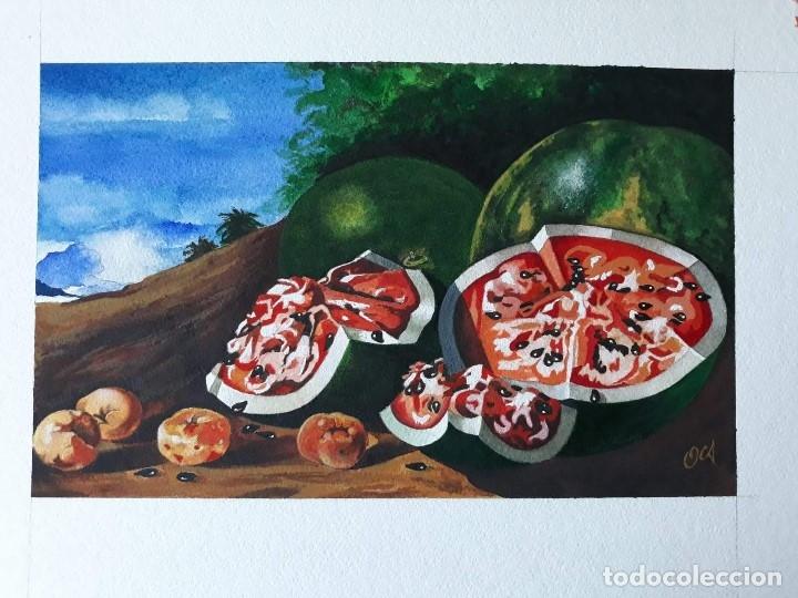 pintura 292x180mm bodegon sandia acuarela y tem - Comprar Acuarelas ...