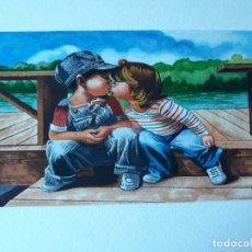 Arte: PINTURA 293X182MM NIÑOS BESANDO ACUARELA CUADRO SIN MARCO. Lote 131059796