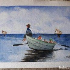 Arte: PINTURA 320X230MM NIÑOS EN LA BARCA ACUARELA CUADRO SIN MARCO. Lote 131059864