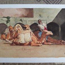Arte: PINTURA 265X170MM PARADA DE CAMELLOS ACUARELA CUADRO SIN MARCO . Lote 132250754