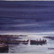 Arte: FERNANDO LLEONART - MARINA - ACUARELA SOBRE PAPEL 48X35 NO ENMARCADO. Lote 132384050