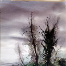 Arte: FERNANDO LLEONART - PAISAJE CON ARBOLES - ACUARELA SOBRE PAPEL 38X55 NO ENMARCADO. Lote 132384102