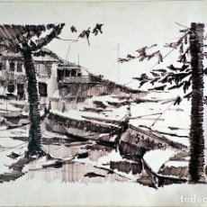 Arte: PEDRO ROS - ACUARELA 50X35 PAISSAJE BARCAS 1976 - NO ENMARCADA. Lote 132506658