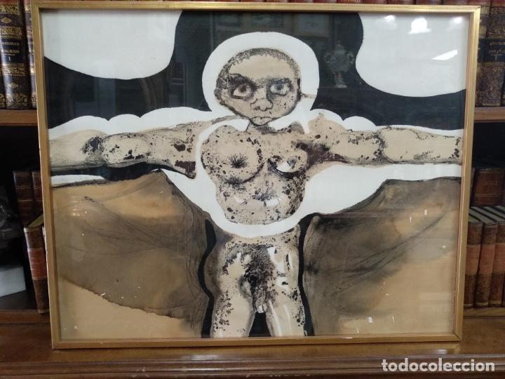 LLAMATIVA ACUARELA FIRMADA - PERSONAJE DESNUDO CON BRAZOS EN CRUZ - ALABARRIETA 73 - (Arte - Acuarelas - Contemporáneas siglo XX)