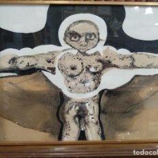 Arte: LLAMATIVA ACUARELA FIRMADA - PERSONAJE DESNUDO CON BRAZOS EN CRUZ - ALABARRIETA 73 - . Lote 132595638