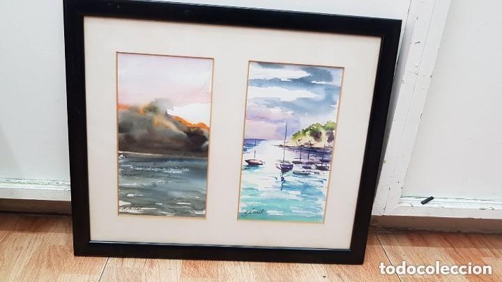 Arte: 2 Acuarelas -MARINA- Firmado Serrat - Foto 4 - 132607882