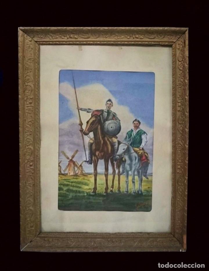 ACUARELA DE DON QUIJOTE Y SANCHO PANZA. FIRMADA. (Arte - Acuarelas - Contemporáneas siglo XX)