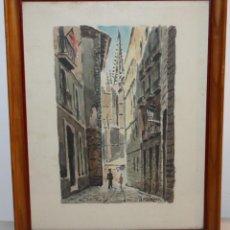 Arte: JUAN CLAVERO MEDINA (1927) - ACUARELA, CALLE DE BARCELONA CON PERSONAJES. Lote 132837330