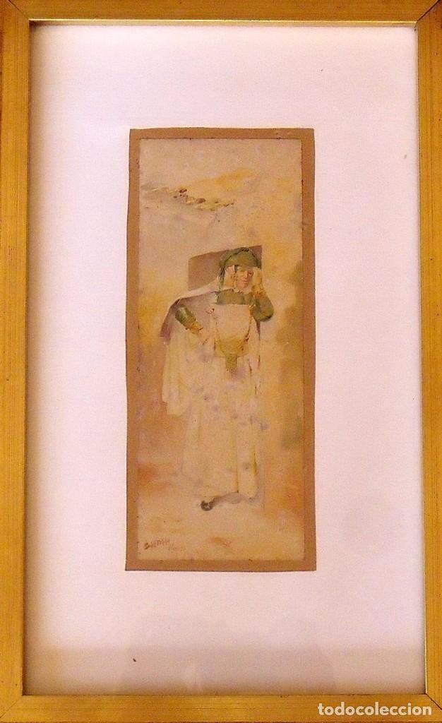 LOUIS LARTIGAU (FRANCIA 1800-1900). DIBUJO ACUARELA: JOVEN ALGERIANO. ALGER. 1899. FIRMADO A MANO. (Arte - Acuarelas - Modernas siglo XIX)