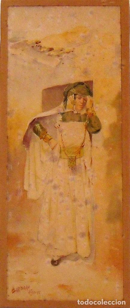 Arte: Louis Lartigau (Francia 1800-1900). Dibujo acuarela: Joven algeriano. Alger. 1899. Firmado a mano. - Foto 2 - 132891506