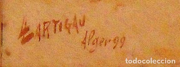Arte: Louis Lartigau (Francia 1800-1900). Dibujo acuarela: Joven algeriano. Alger. 1899. Firmado a mano. - Foto 3 - 132891506