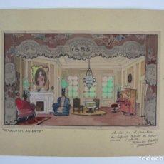 Arte: RAMON BATLLE, INTERIOR DE CASA 1885, TÉCNICA MIXTA, 1944, DEDICADO A CECILIA A. MÀNTUA. 30X20,5CM. Lote 133098578