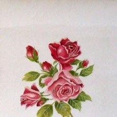 Arte: VICTORIA GUERIN. ACUARELA ROSAS. FIRMADA A MANO. 38X28 CM. EN BUEN ESTADO.. Lote 133192786