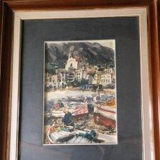 Arte: PAISAJE DE BARCAS DE PESCADORES POR RAFAEL ORTIZ ALFAU (BILBAO 1935-2000) AÑO 1975. Lote 133321466