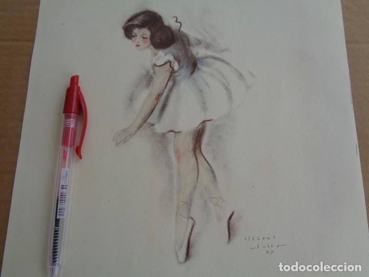 Arte: Bailarina llorando con heridas --- Firmado Gisbert Soler -- Fechado 1945 - Foto 2 - 133392322