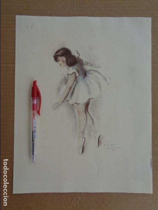 BAILARINA LLORANDO CON HERIDAS --- FIRMADO GISBERT SOLER -- FECHADO 1945 (Arte - Acuarelas - Contemporáneas siglo XX)