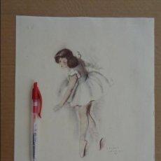 Arte: BAILARINA LLORANDO CON HERIDAS --- FIRMADO GISBERT SOLER -- FECHADO 1945. Lote 133392322