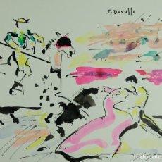 Arte: JEAN DUCASSE ACUARELA SOBRE PAPEL ESCENA TAURINA FIRMADO SEGUNDA MITAD SIGLO XX. Lote 133463602