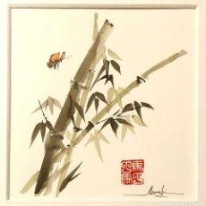 Arte: BAMBÚ Y MARIPOSA EN ACUARELA TIPO SUMI-E. Lote 133497458