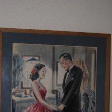 Arte: PRECIOSA ACUARELA DEL ILUSTRADOR F. J. NIXON - PAREJA EN EL CAMERINO - AÑOS 30-40. Lote 133589990