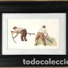 Arte: CAMPESINOS EN LA SIEGA, ACUARELA SOBRE CARTON. Lote 133638458