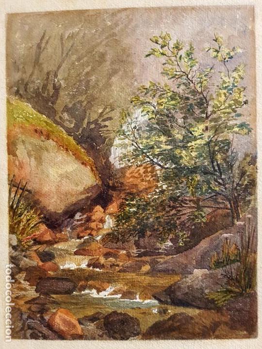 CLEMENTINA SMYTH, S.XIX - `PAISAJE DE MONTAÑA CON RIO (Arte - Acuarelas - Modernas siglo XIX)