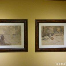Arte: NICANOR PIÑOLE (GIJÓN, 1878-1978). DOS ACUARELAS: LA MADRE DEL PINTOR Y LA MUSA EN EL ESTUDIO). Lote 134206382