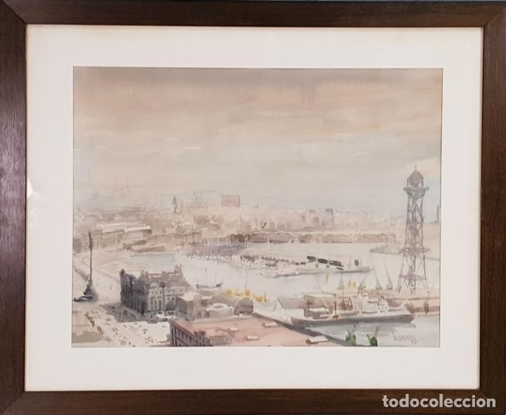 PUERTO DE BARCELONA. ACUARELA SOBRE PAPEL. FIRMADO FRANCESC. 1976. (Arte - Acuarelas - Contemporáneas siglo XX)