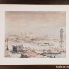 Arte: PUERTO DE BARCELONA. ACUARELA SOBRE PAPEL. FIRMADO FRANCESC. 1976. . Lote 134366558
