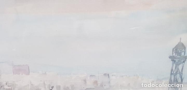 Arte: PUERTO DE BARCELONA. ACUARELA SOBRE PAPEL. FIRMADO FRANCESC. 1976. - Foto 2 - 134366558