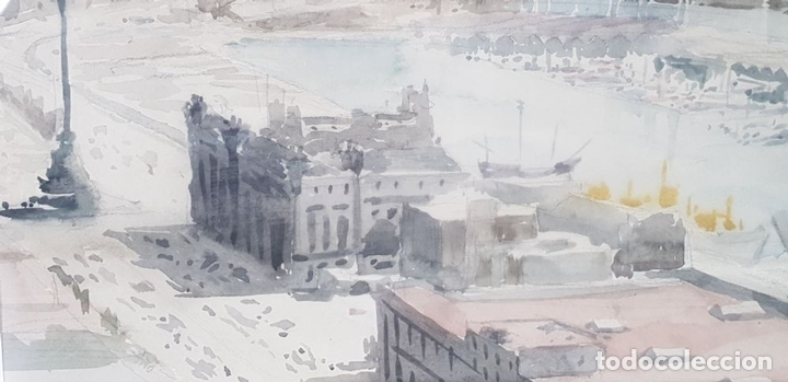 Arte: PUERTO DE BARCELONA. ACUARELA SOBRE PAPEL. FIRMADO FRANCESC. 1976. - Foto 3 - 134366558