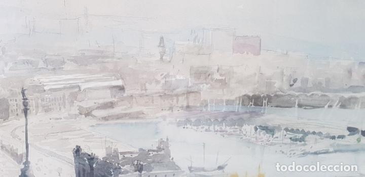 Arte: PUERTO DE BARCELONA. ACUARELA SOBRE PAPEL. FIRMADO FRANCESC. 1976. - Foto 5 - 134366558
