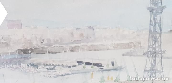 Arte: PUERTO DE BARCELONA. ACUARELA SOBRE PAPEL. FIRMADO FRANCESC. 1976. - Foto 7 - 134366558