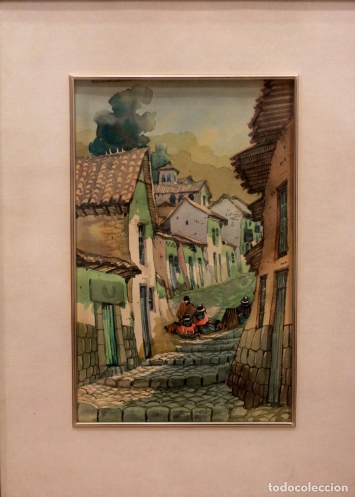 Arte: ACUARELA VISTA DE CALLE. ESCUELA ALICANTINA S.XX. SIN FIRMAR. ENMARCADO 36X44CM - Foto 3 - 134409042
