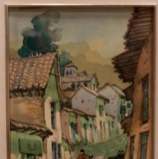 Arte: ACUARELA VISTA DE CALLE. ESCUELA ALICANTINA S.XX. SIN FIRMAR. ENMARCADO 36X44CM. Lote 134409042