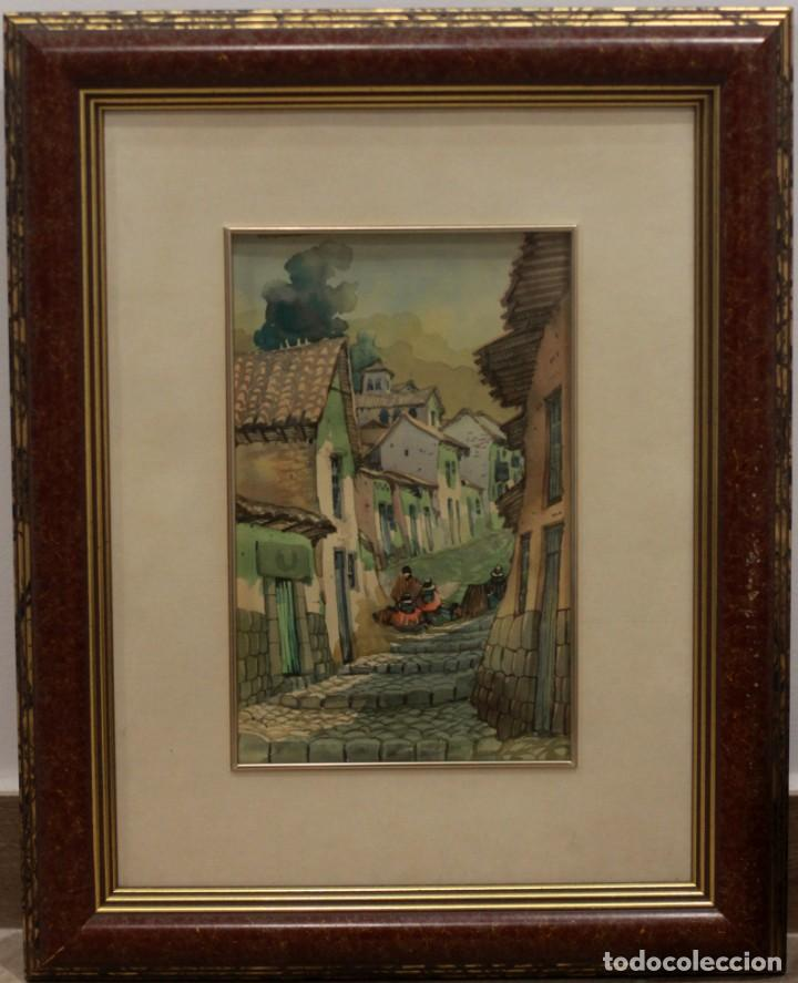 Arte: ACUARELA VISTA DE CALLE. ESCUELA ALICANTINA S.XX. SIN FIRMAR. ENMARCADO 36X44CM - Foto 2 - 134409042