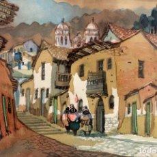 Arte: ACUARELA VISTA DE CALLE. ESCUELA ALICANTINA S.XX. SIN FIRMAR. ENMARCADO 36X44CM. Lote 134409246