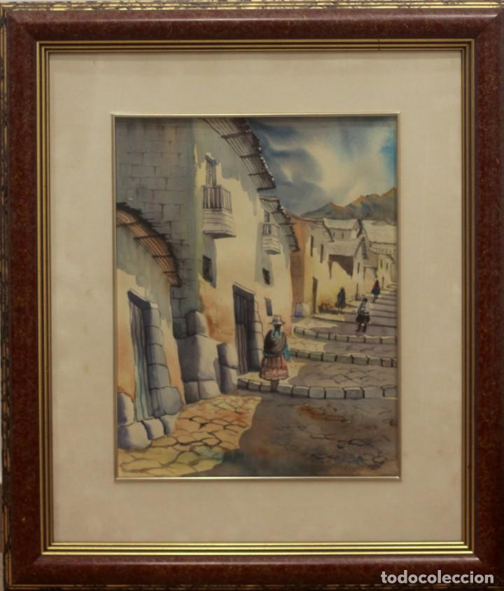 Arte: ACUARELA VISTA DE CALLE. ESCUELA ALICANTINA S.XX. SIN FIRMAR. ENMARCADO 52X45CM - Foto 2 - 134409558