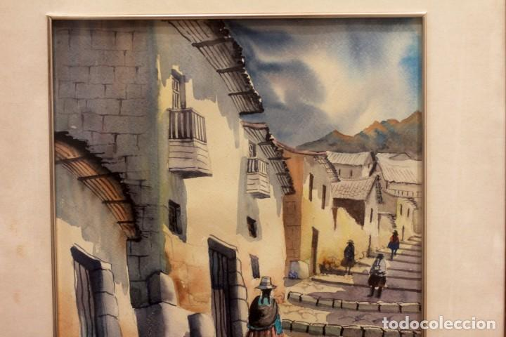 Arte: ACUARELA VISTA DE CALLE. ESCUELA ALICANTINA S.XX. SIN FIRMAR. ENMARCADO 52X45CM - Foto 3 - 134409558