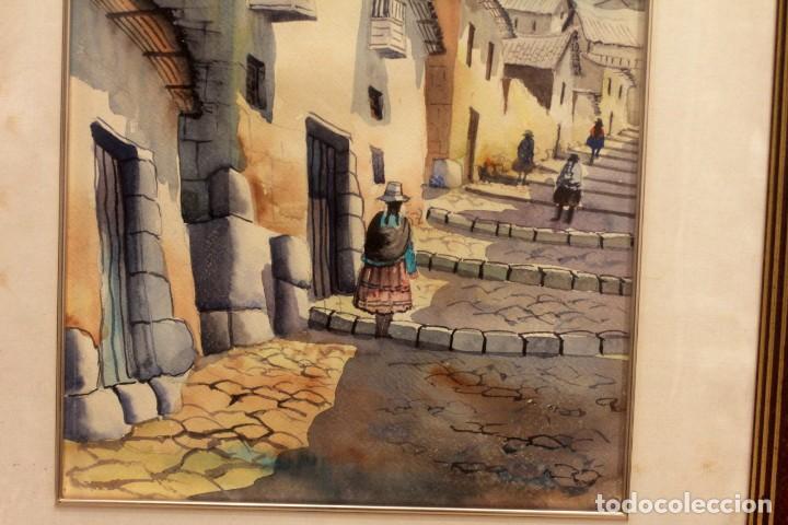 Arte: ACUARELA VISTA DE CALLE. ESCUELA ALICANTINA S.XX. SIN FIRMAR. ENMARCADO 52X45CM - Foto 4 - 134409558