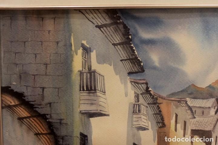 Arte: ACUARELA VISTA DE CALLE. ESCUELA ALICANTINA S.XX. SIN FIRMAR. ENMARCADO 52X45CM - Foto 6 - 134409558