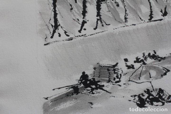 Arte: JOSE MAYOR, ALICANTE, ACUARELA SOBRE PAPEL, ENMARCADA. 56X71cm - Foto 3 - 134641258