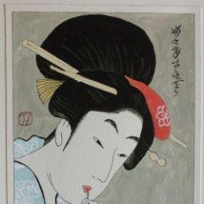 Arte: ACUARELA DE ESTILO JAPONÉS TRADICIONAL. Lote 134856522